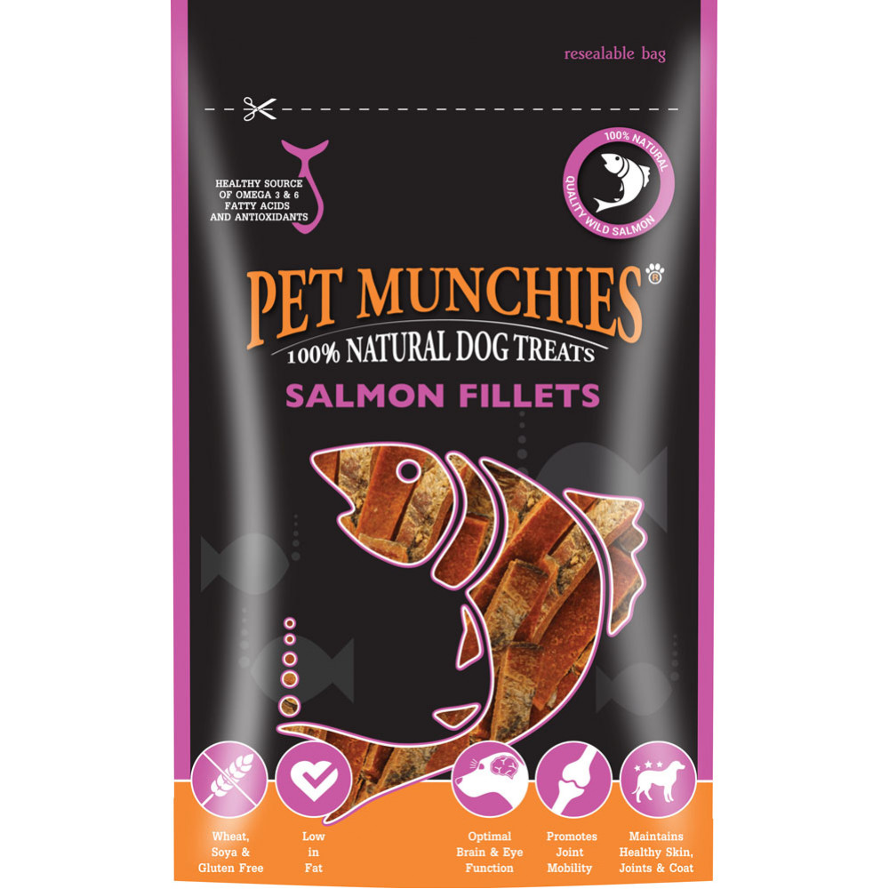 Pet Munchies 100 Salmon Fillets Natural Training Treats