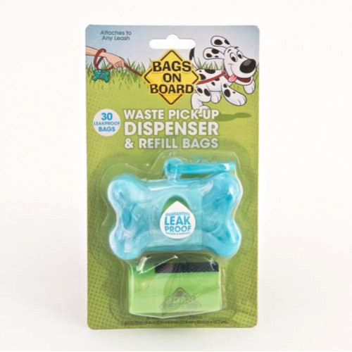 Bags on Board Dispenser Turquoise Marble & Poo Bags